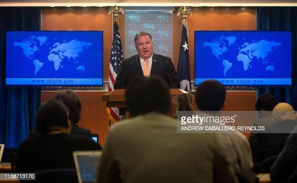 US Secretary of State Mike Pompeo speaks during a press conference at the US Department of State in Washington DC on April 22 2019 The United States...