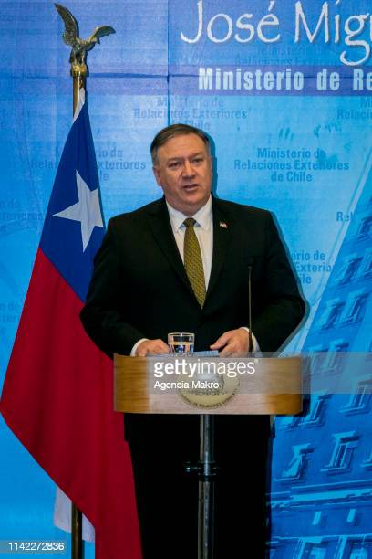 Secretary of State Mike Pompeo speaks during a press conference at the Ministry of Foreign Affairs of Chile as part of a South America tour on April...