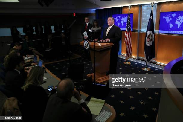 Secretary of State Mike Pompeo speaks during a press conference at the U.S. Department of State on November 18, 2019 in Washington, DC. Pompeo...