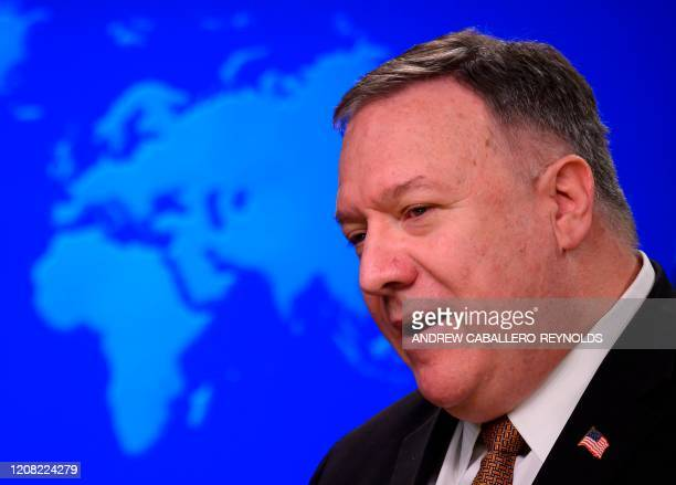 US Secretary of State Mike Pompeo speaks during a press conference at the State Department in Washington DC on March 25 2020 Foreign ministers of the...