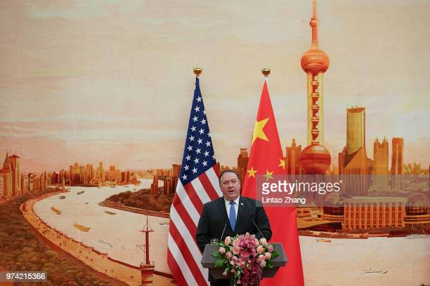 S Secretary of State Mike Pompeo speaks during a press conference at the Great Hall of the People on June 14 2018 in Beijing China US Secretary of...