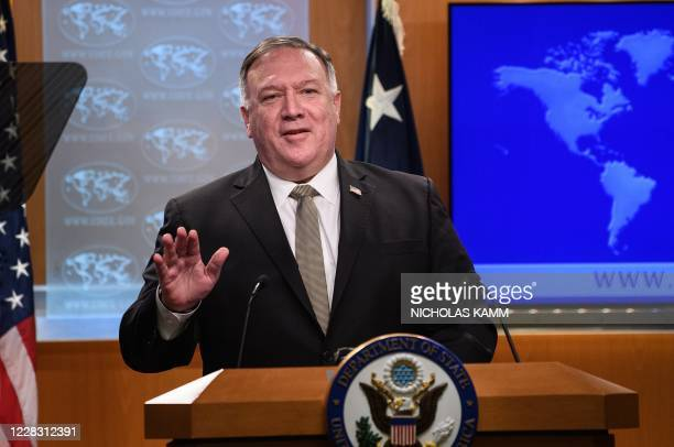 Secretary of State Mike Pompeo speaks during his weekly briefing at the State Department in Washington, DC, on September 2, 2020.