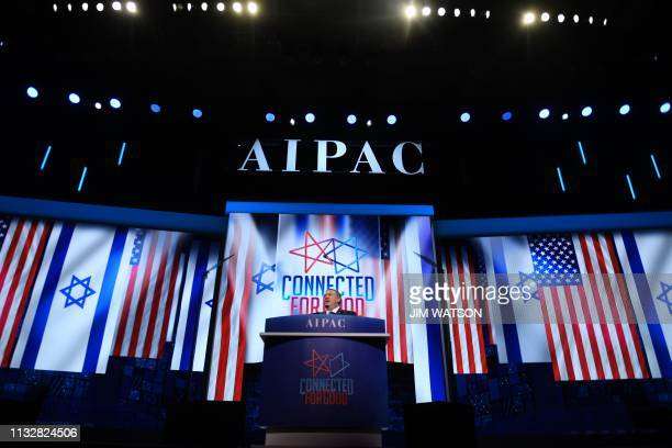 US Secretary of State Mike Pompeo speaks during the AIPAC annual meeting in Washington DC on March 25 2019