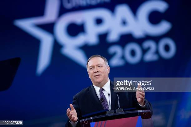Secretary of State Mike Pompeo speaks during the American Conservative Union's Conservative Political Action Conference February 28 in Washington,...