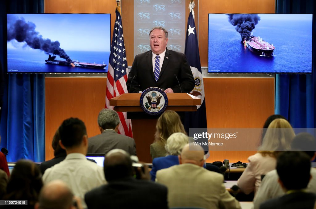 Secretary Of State Pompeo Remarks On Tankers Attacked In Gulf Of Oman : News Photo