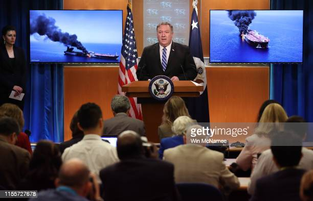 S Secretary of State Mike Pompeo speaks from the State Department briefing room on June 13 2019 in Washington DC Pompeo said It is the assessment of...