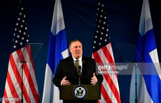 US Secretary of State Mike Pompeo speaks on Arctic policy at the Lappi Areena in Rovaniemi Finland on May 6 2019 Pompeo is in Rovaniemi to attend the...