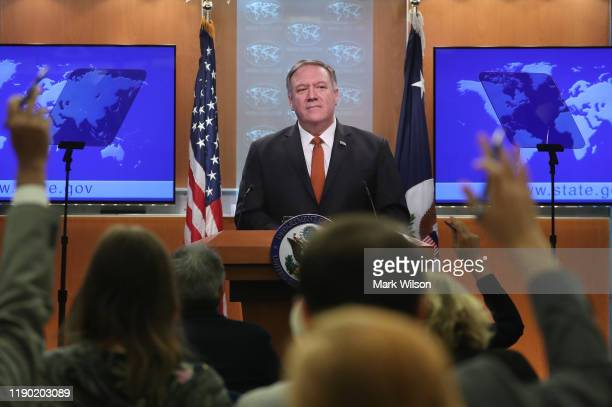 Secretary of State Mike Pompeo speaks to the media in the briefing room at the State Department, on November 26, 2019 in Washington, DC. Secretary...