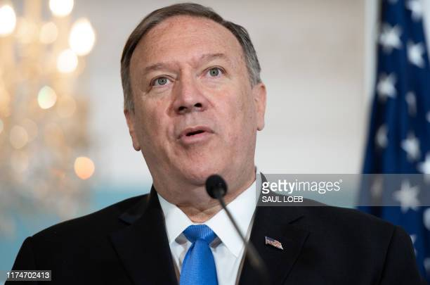 US Secretary of State Mike Pompeo speaks to the media prior to meeting with Colombian Foreign Minister Carlos Holmes Trujillo at the State Department...