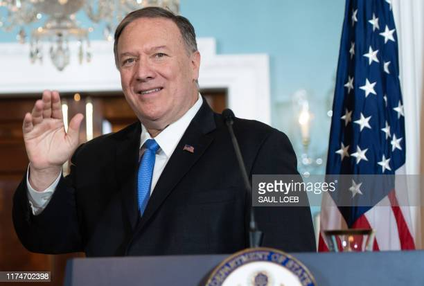 US Secretary of State Mike Pompeo speaks to the media with Colombian Foreign Minister Carlos Holmes Trujillo prior to meeting at the State Department...