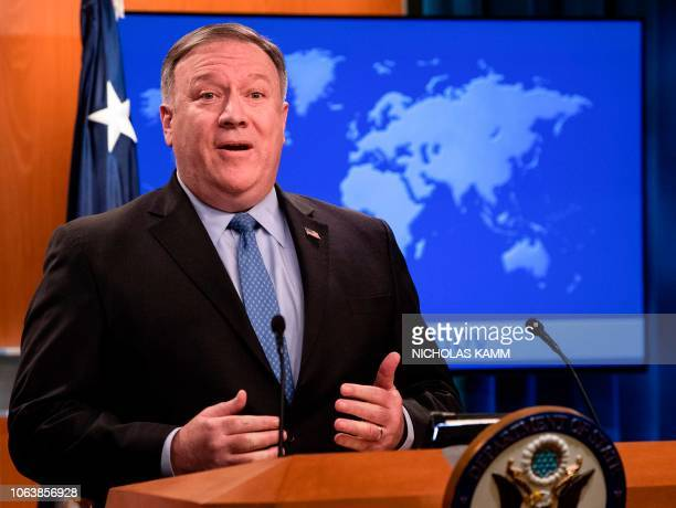 US Secretary of State Mike Pompeo speaks to the press at the State Department in Washington DC on November 20 2018