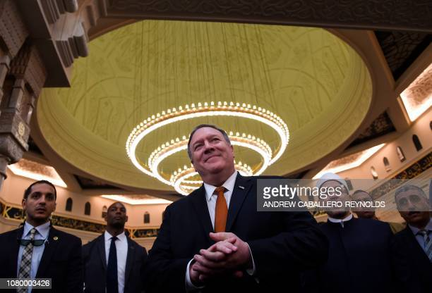 Secretary of State Mike Pompeo speaks to the press during a tour of the newlyinaugrated AlFattah AlAlim mosque in Egypt's New Administrative Capital...