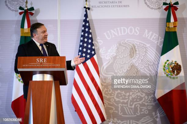US Secretary of State Mike Pompeo speaks while making a statement to the press with Mexico's Foreign Minister Luis Videgaray Caso at the Ministry of...
