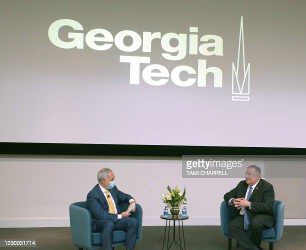 """Secretary of State Mike Pompeo speaks with Dr. Angel Cabrera, President of the Georgia Institute of Technology, on """"China challenge to US national..."""