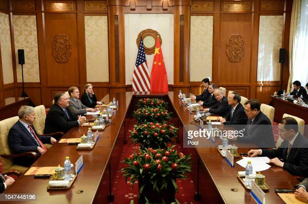 Secretary of State Mike Pompeo speaks with State Councillor Yang Jiechi during a meeting at the Diaoyutai State Guesthouse on October 8, 2018 in...