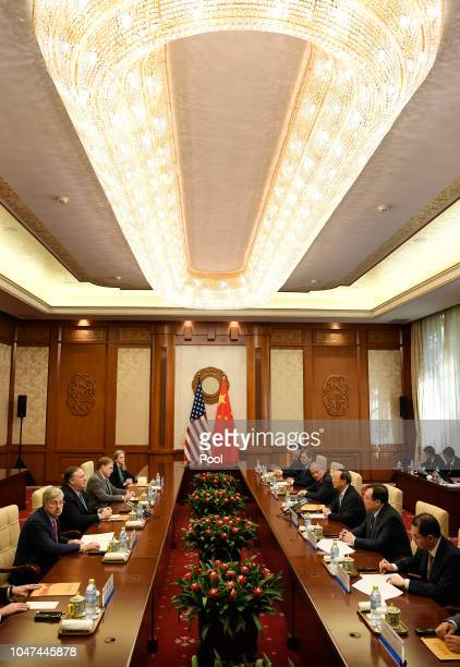 S Secretary of State Mike Pompeo speaks with State Councillor Yang Jiechi during a meeting at the Diaoyutai State Guesthouse on October 8 2018 in...