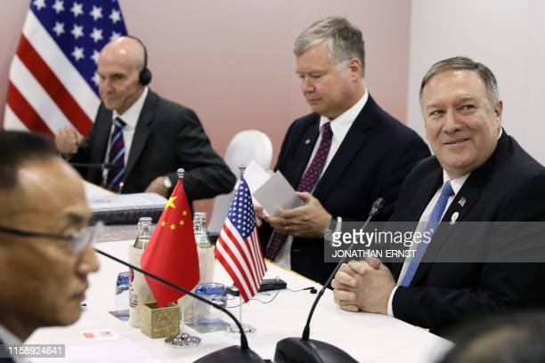 US Secretary of State Mike Pompeo Special Representative for North Korea Stephen Biegun and State Department spokesperson Morgan Ortagus meet with...