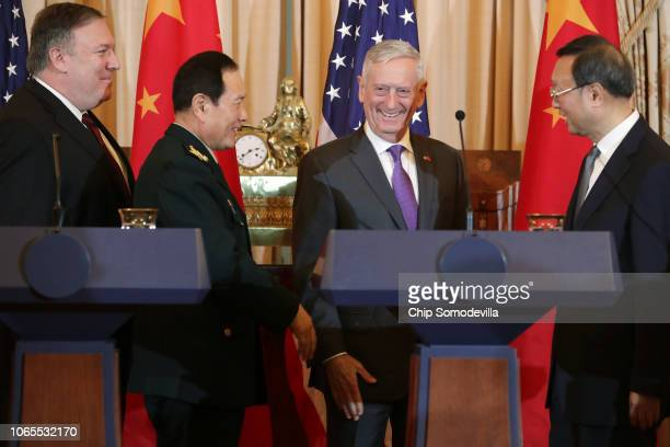 Secretary of State Mike Pompeo, State Councilor and Defense Minister General Wei Fenghe, Secretary of Defense James Mattis and Director of the Office...