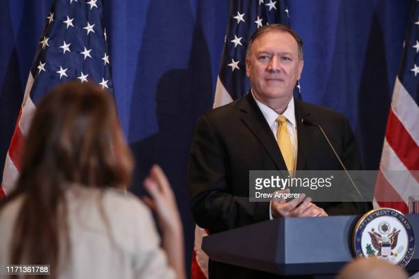 Secretary of State Mike Pompeo takes a question during a press conference on the sidelines of the United Nations General Assembly on September 26,...