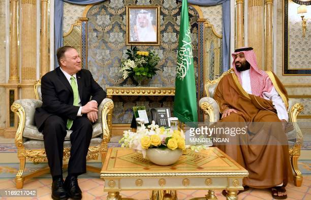 Secretary of State Mike Pompeo takes part in a meeting with Saudi Arabia's Crown Prince Mohammed bin Salman in Jeddah Saudi Arabia on September 18...