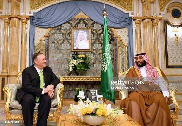 US Secretary of State Mike Pompeo takes part in a meeting with Saudi Arabia's Crown Prince Mohammed bin Salman in Jeddah Saudi Arabia on September 18...