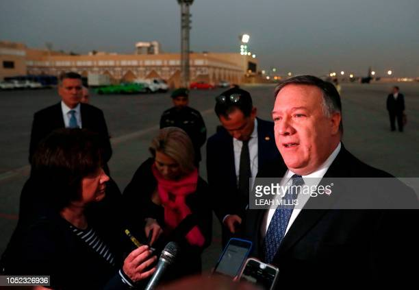 US Secretary of State Mike Pompeo talks to the media before leaving Riyadh Saudi Arabia on October 17 2018 US President Donald Trump pushed back...