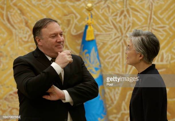 S Secretary of State Mike Pompeo talks with South Korean Foreign Minister Kang Kyungwha before their meeting at presidential blue house on October 7...