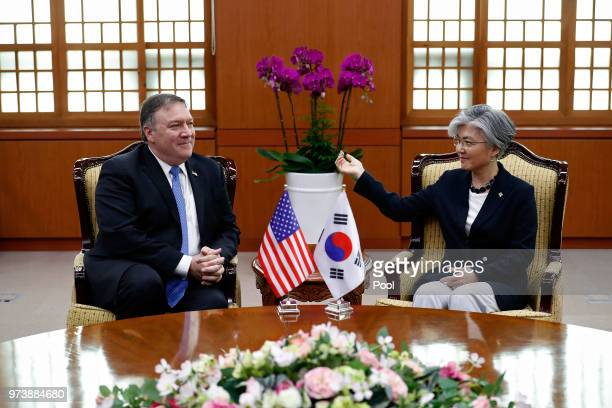 S Secretary of State Mike Pompeo talks with South Korean Foreign Minister Kang Kyungwha during their meeting at foreign ministry on June 14 2018 in...