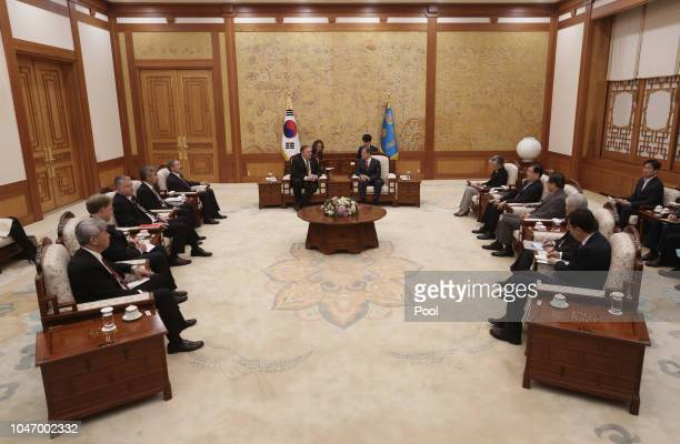 S Secretary of State Mike Pompeo talks with South Korean President Moon Jaein before their meeting at presidential blue house on October 7 2018 in...