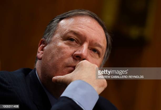 US Secretary of State Mike Pompeo testifies before a Senate Foreign Relations Committee hearing on Capitol Hill in Washington DC on July 25 2018