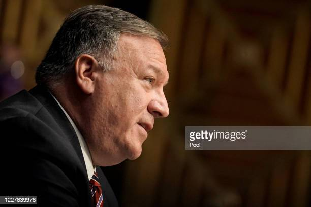 Secretary of State Mike Pompeo testifies during a Senate Foreign Relations Committee hearing to discuss the Trump administration's FY 2021 budget...