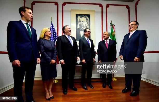 US Secretary of State Mike Pompeo US Homeland Security Secretary Kirstjen Nielsen White House advisor Jared Kushner and US Treasury Secretary Steven...