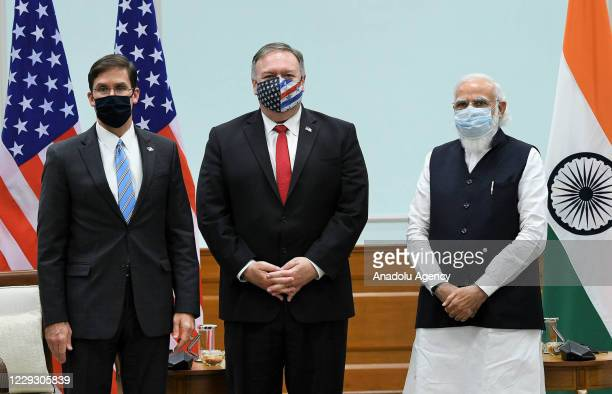 Secretary of State Mike Pompeo , U.S. Secretary of Defence Mark Esper and Indian Prime Minister, Narendra Modi pose for a photo during their meeting...