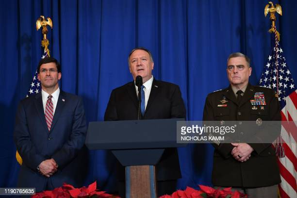 US Secretary of State Mike Pompeo US Secretary of Defense Mark Esper and Chairman of the Joint Chiefs of Staff US army general Mark A Milley speak on...