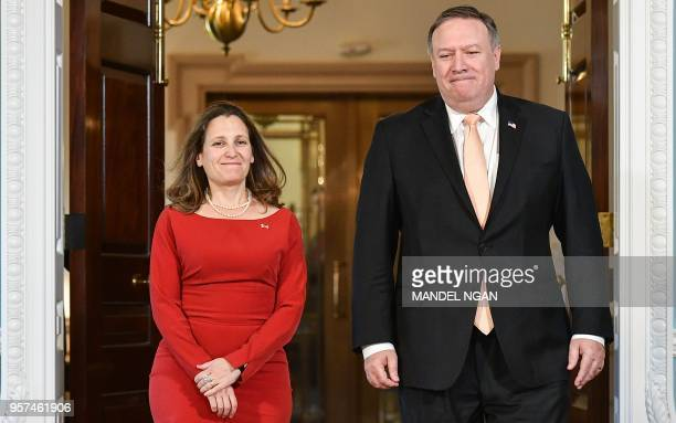 US Secretary of State Mike Pompeo walks with with Canada's Foreign Minister Chrystia Freeland ahead of a bilateral meeting at the State Department in...