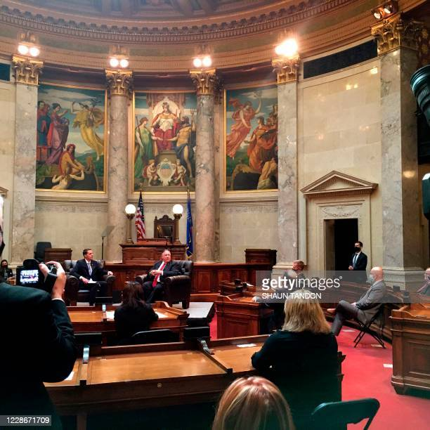 US Secretary of State Mike Pompeo warns of the risks of China in remarks to state legislators in the Wisconsin State Capitol in Madison Wisconsin on...
