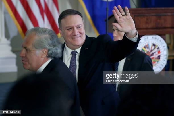 S Secretary of State Mike Pompeo waves goodbye after addressing a protocolary meeting of the Permanent Council of the Organization of American States...