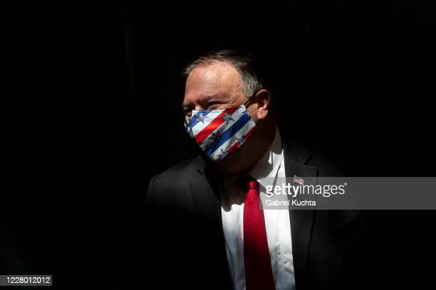 Secretary of State Mike Pompeo wears a mask at a press conference on August 12, 2020 in Prague, Czech Republic. U.S. Secretary of State Mike Pompeo...