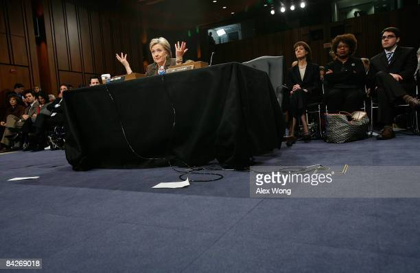 Secretary of State Nominee and incumbent U.S. Sen. Hillary Rodham Clinton testifies during her confirmation hearing before the Senate Foreign...