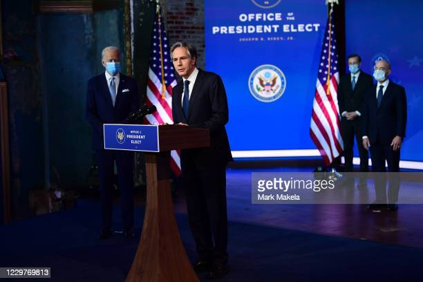 Secretary of State nominee Antony Blinken speaks after being introduced by President-elect Joe Biden as he introduces key foreign policy and national...