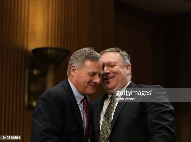 Secretary of State nominee Mike Pompeo thanks Sen Richard Burr for his comments during his confirmation hearing before a Senate Foreign Relations...