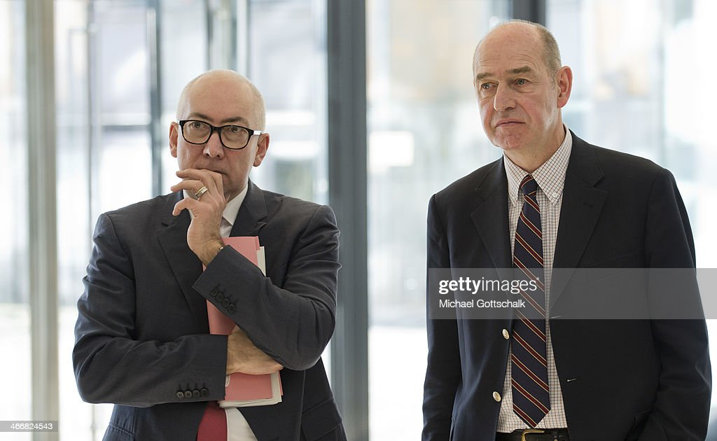 Secretary of State of German Ministry for Justice, Gerd Billen (L) and Hubertus Primus, chairman of Stiftung Warentest stand next to each other on February 04, 2014 in Berlin, Germany. Stiftung Warentest is a public institution that examines consumer products for their safety.