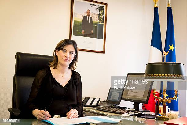 Secretary of State responsible of the victims of attacks Juliette Meadel is Photographed for Paris Match at her office on march 25 2016 in Paris...