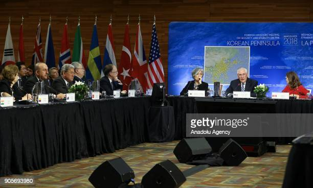Secretary of State Rex Tillerson addresses during Vancouver Foreign Ministers Meeting on Security and Stability on Korean Peninsula in Vancouver...