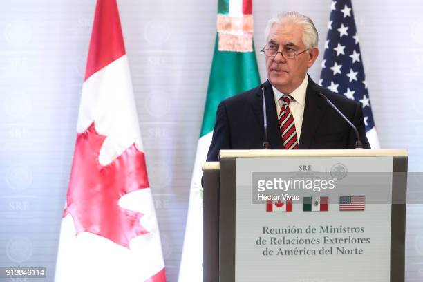 Secretary of State Rex Tillerson adresses the media at the Ministry of Foreign Affairs on February 2 2018 in Mexico City Mexico US Secretary of State...