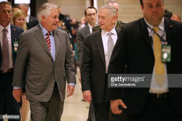 S Secretary of State Rex Tillerson and Defense Secretary James Mattis arrive to brief members of the House of Representatives in the US Capitol...
