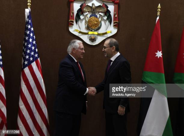 Secretary of State Rex Tillerson and Jordanian Foreign Minister Ayman Al Safadi shake hands during their meeting in Amman Jordan on February 14 2018