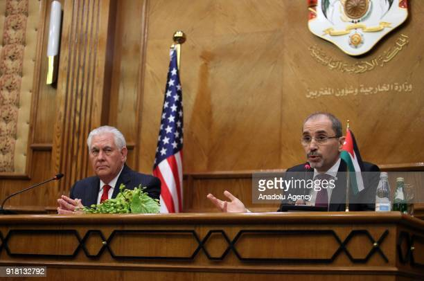 Secretary of State Rex Tillerson and Jordanian Foreign Minister Ayman Al Safadi hold a joint press conference following their meeting in Amman Jordan...