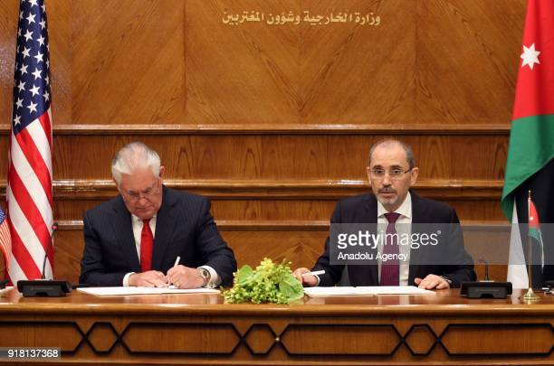 Secretary of State Rex Tillerson and Jordanian Foreign Minister Ayman Al Safadi sign a memorandum of understanding as part of strategic partnership...