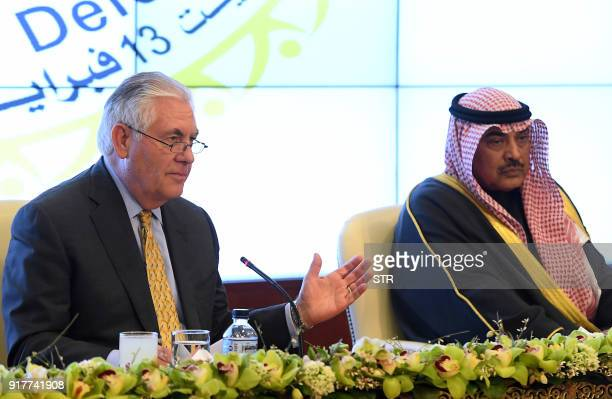 US Secretary of State Rex Tillerson and Kuwaiti Foreign Minister Sheikh Sabah alKhaled alSabah give a press conference on the sidelines of a a...